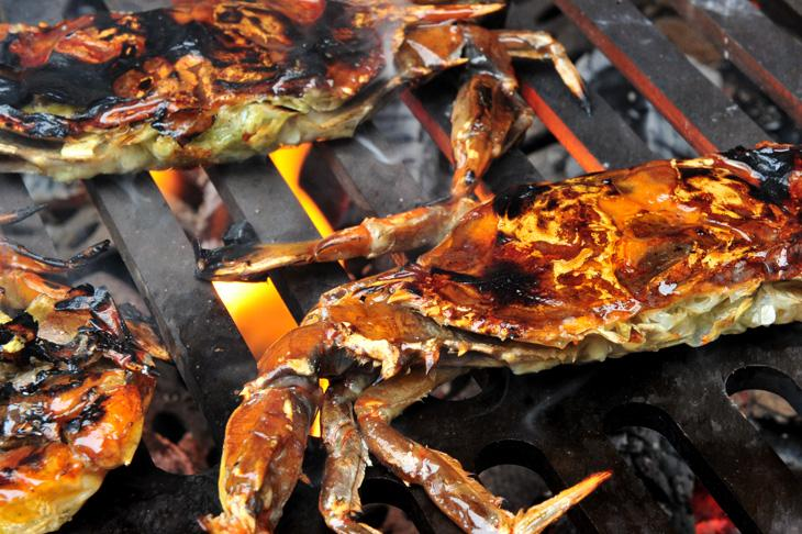 Soft shell crabs on the grill
