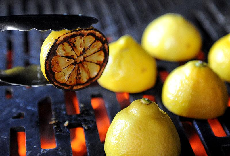Lemons grilling on the Hybrid Fire Grill