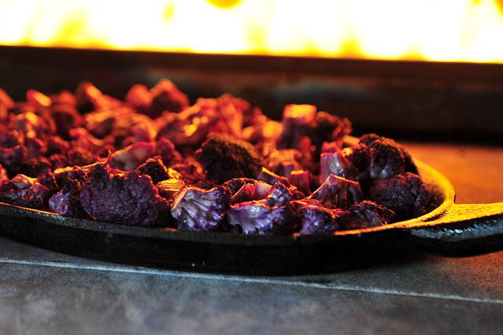 Roasting cauliflower in the pizza oven