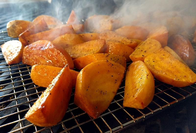 Golden beets smoke roasting on the Hybrid Grill