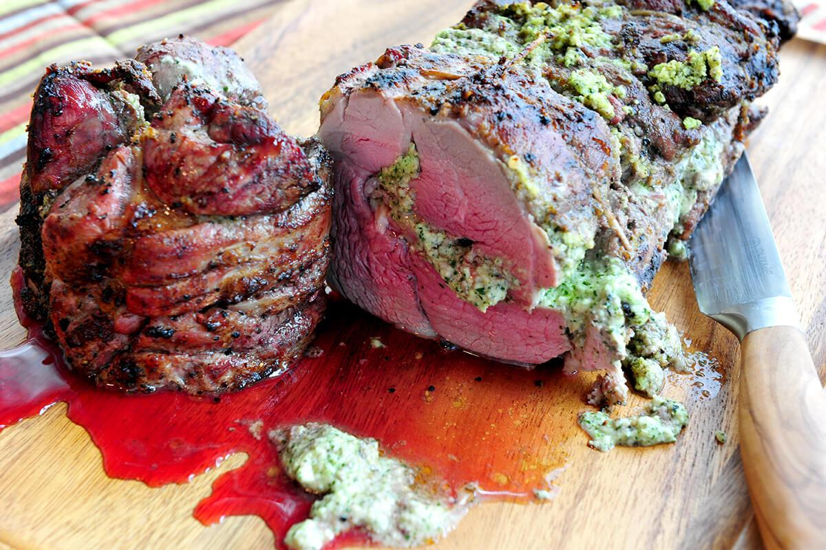Image of Mint Goat Cheese Pesto Rolled Leg of Lamb