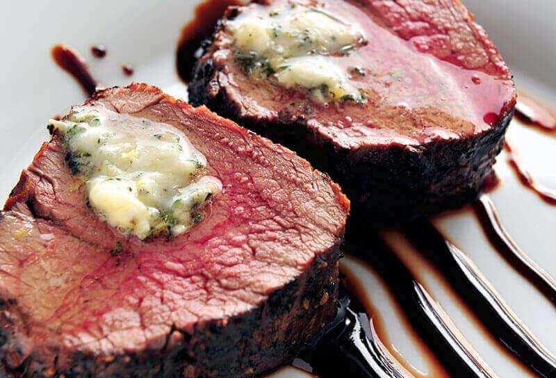Image of Beef Tenderloin Roast with Zinfandel Reduction and Herbed Butter