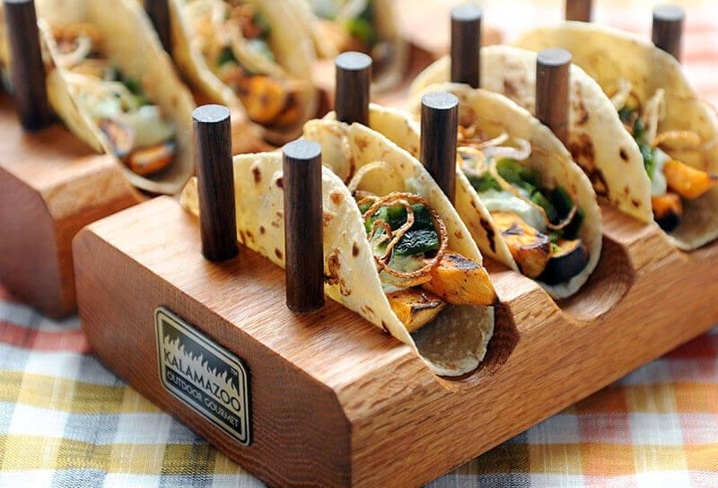 Image of Roasted Sweet Potato and Poblano Tacos with Crispy Shallots and Cilantro Yogurt Sauce