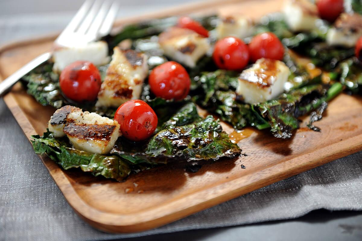Image of Grilled Kale Salad with Goat Cheese Polenta