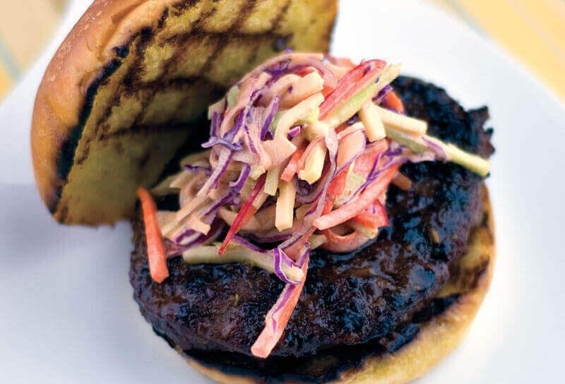 Image of Teriyaki Burgers with Spicy Broccoli Slaw