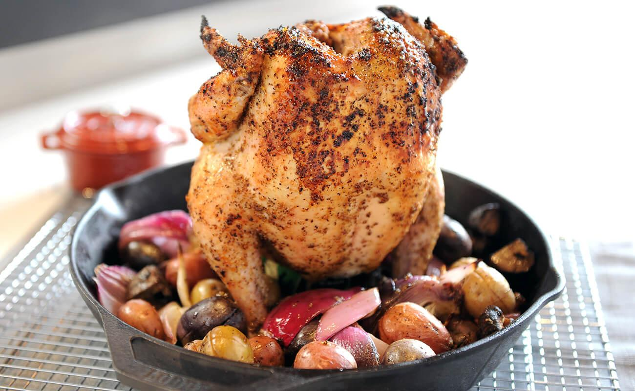 Image of Beer Can Chicken with Mushrooms, Potatoes and Onions