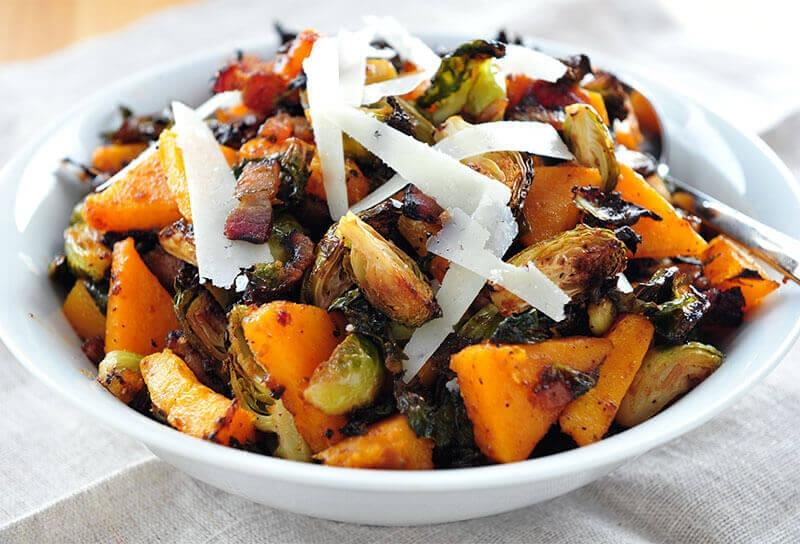 Image of Roasted Brussels Sprouts and Squash with Onion Jam