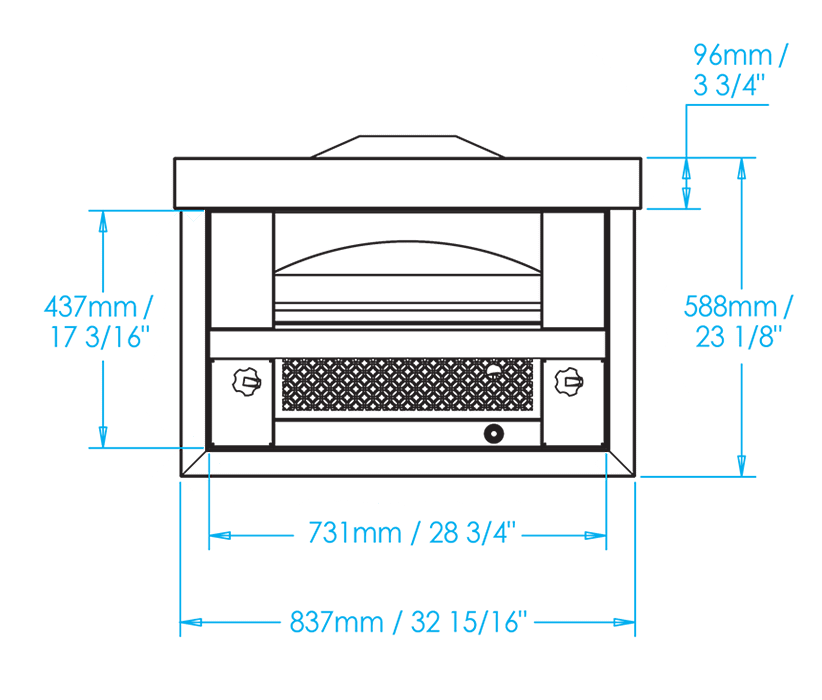 Built-in Artisan Fire Pizza Oven Dimensions Image