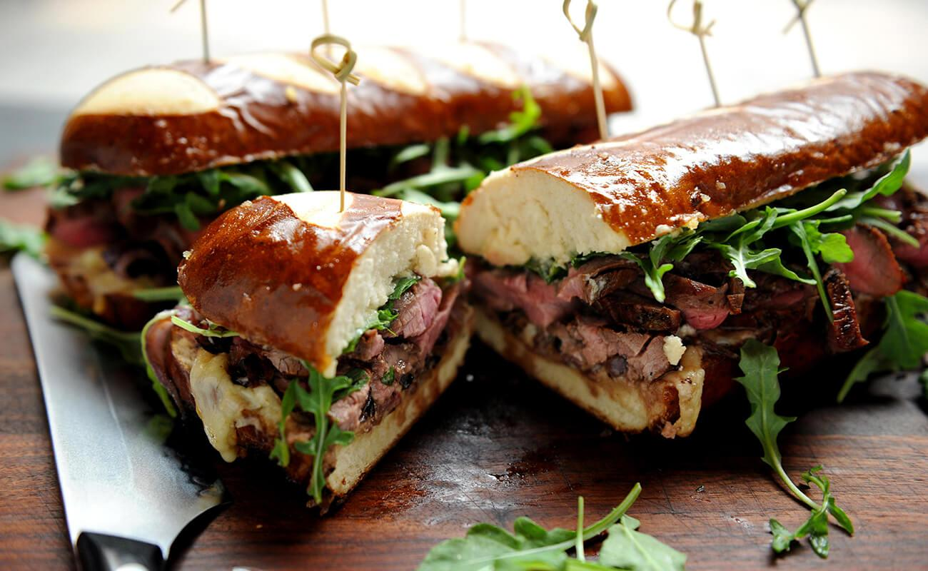 Image of Bourbon-marinated Flank Steak Hoagies with Horseradish Aioli