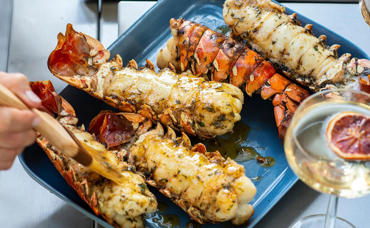 Image of Grilled Lobster Tails with Smoked Garlic Butter