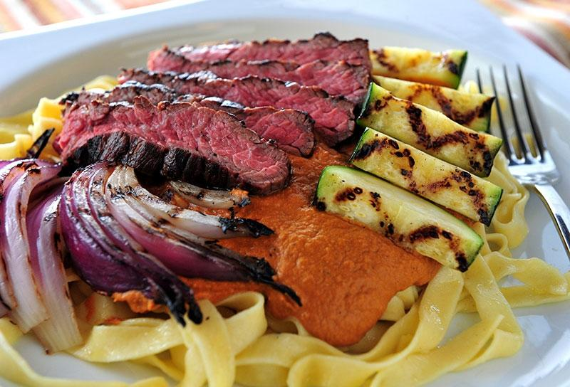 Image of Skirt Steak and Grilled Vegetables with Pumpkin Romesco