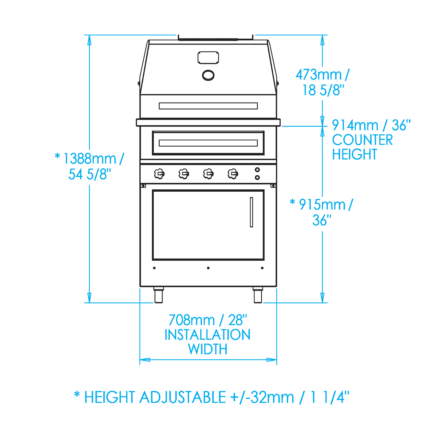 K500 Built-in Hybrid Fire Grill Dimensions Image