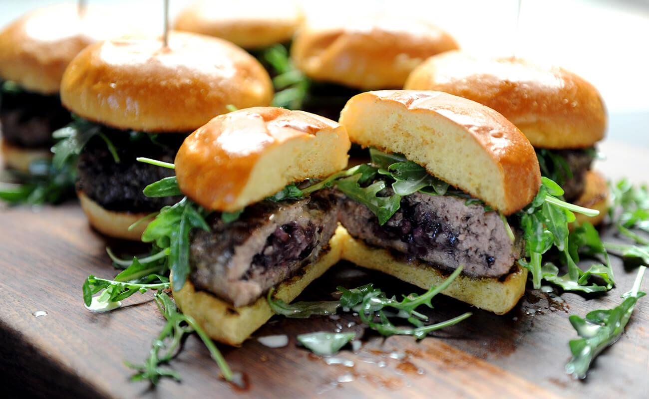 Image of Stuffed Pork Burgers with Blueberry Bacon Compote