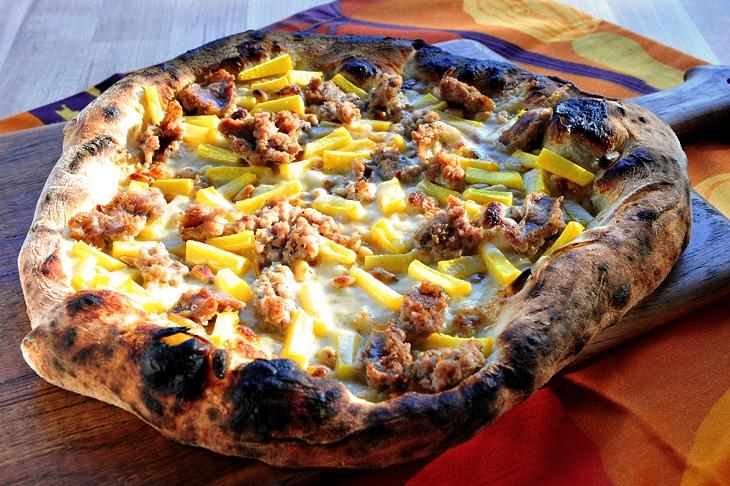 Image of Pumpkin and Sausage Pizza with Parmesan Cream Sauce