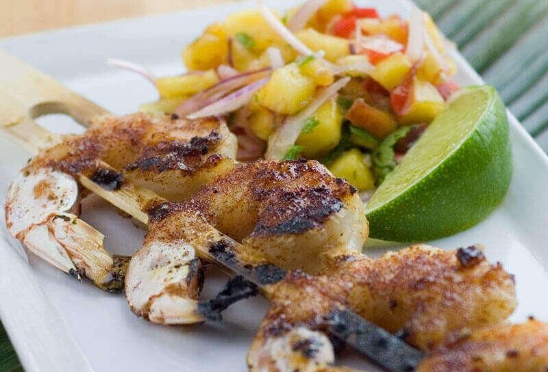 Image of Barbecued Shrimp Skewers with Peach Salsa