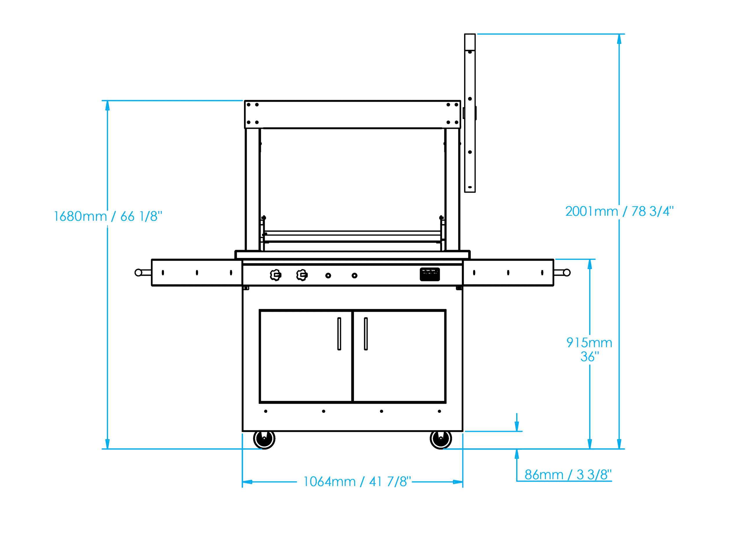K750 Freestanding Gaucho Grill Dimensions Image