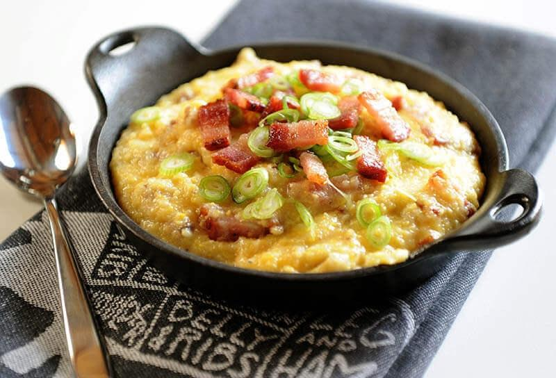 Image of Cheesy Grits with Bacon and Scallions