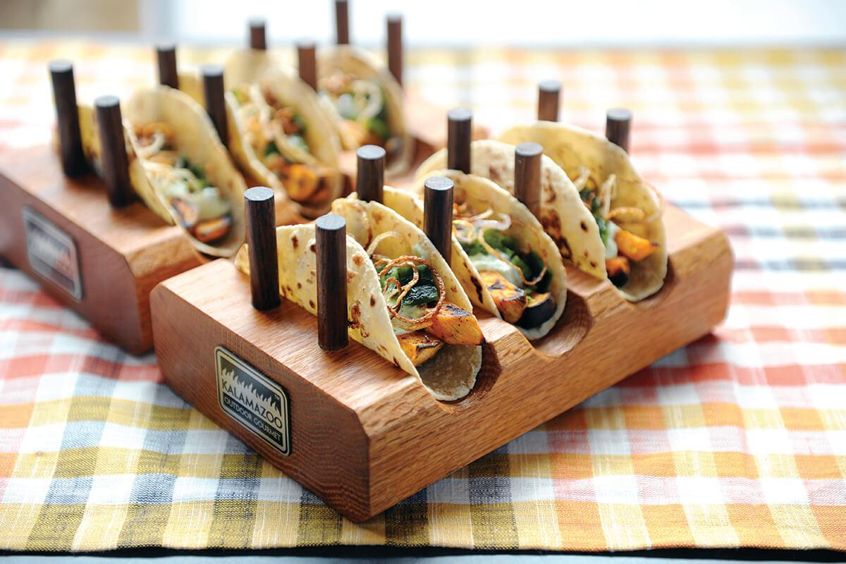 Image of Roasted Sweet Potato and Poblano Tacos with Crispy Shallots and Cilantro Yogurt Sauce