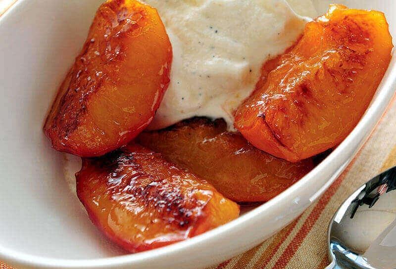 Image of Honey-Caramelized Peaches with Vanilla Mascarpone Ice Cream
