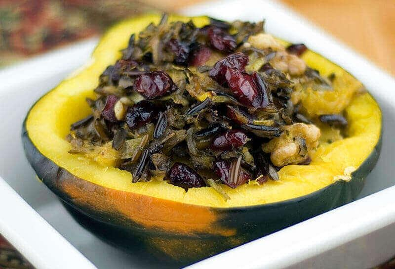 Image of Roasted Acorn Squash Stuffed with Wild Rice and Cranberries