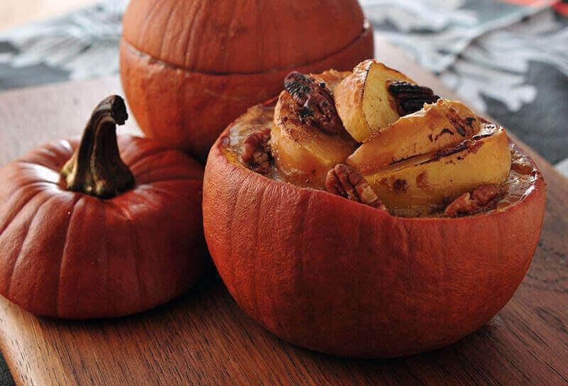 Image of Roasted Apple Pies in Pumpkin Shells