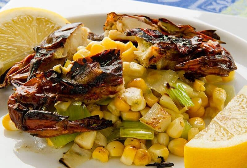 Image of Grilled Soft Shell Crabs with Corn and Leek Relish