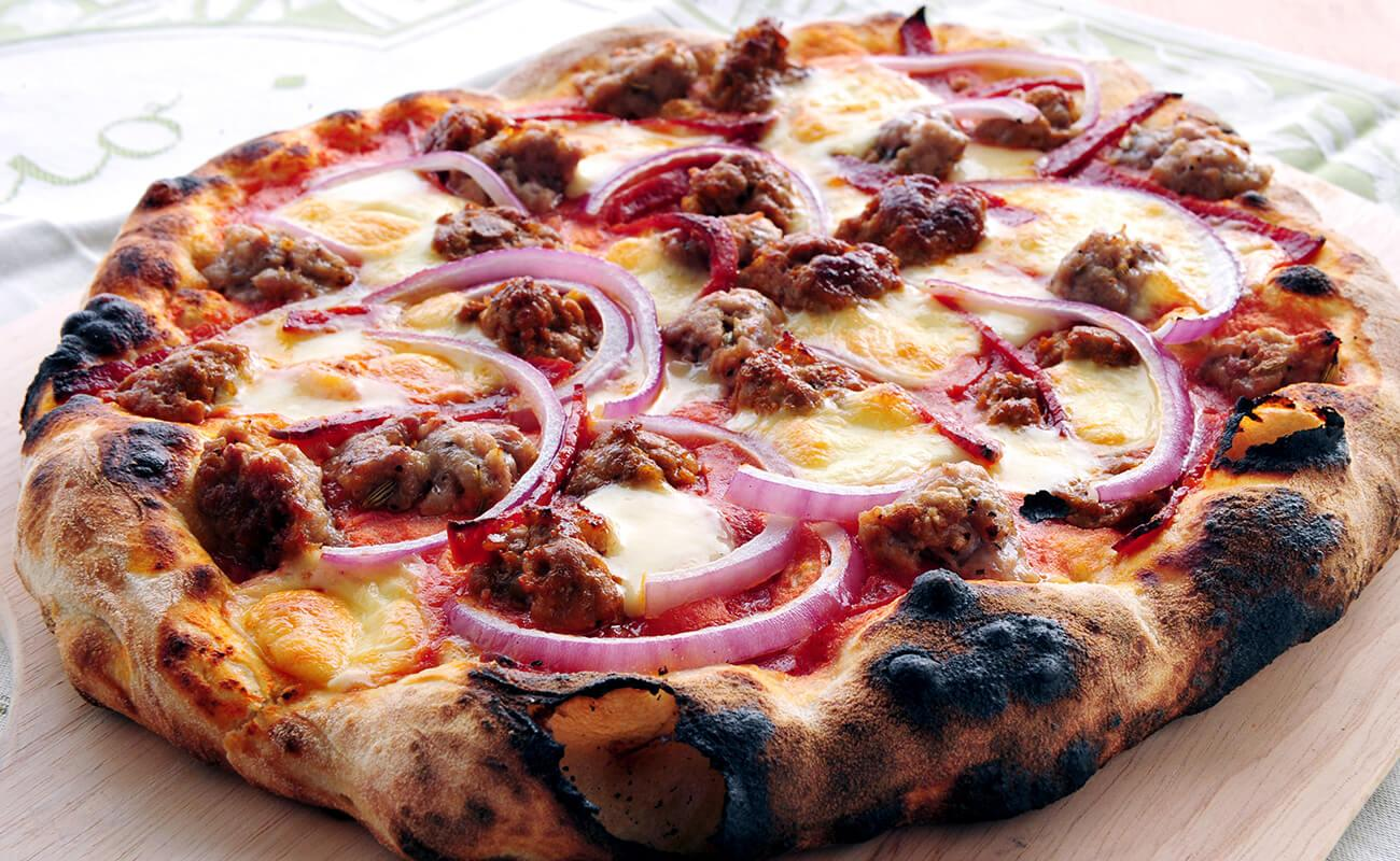 Image of Pepperoni, Sausage and Onion Pizza