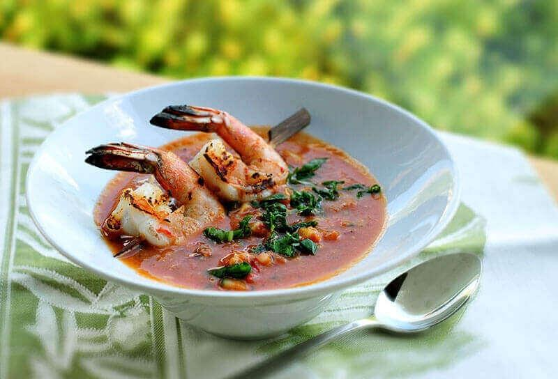 Image of Rustic Gazpacho with Grilled Shrimp