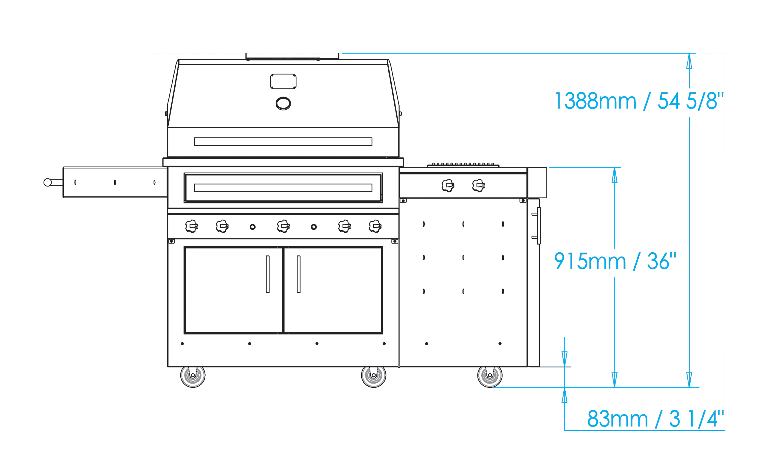 K750 Freestanding Hybrid Fire Grill with Side Burner Dimensions Image