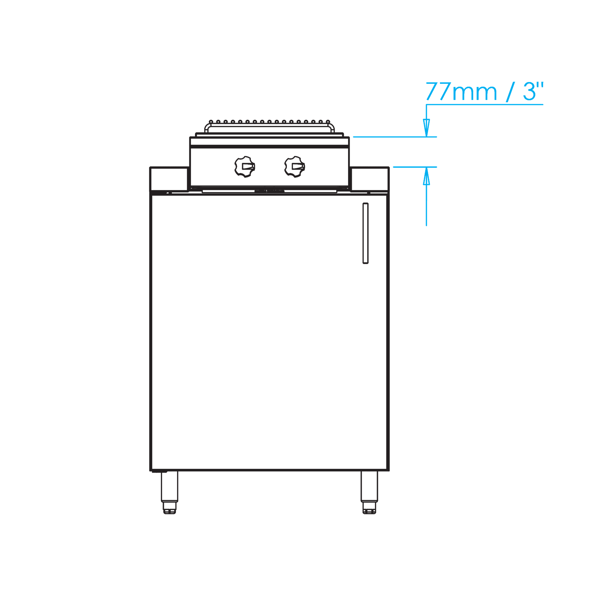 Built-in Double with Power Wok Burner Dimensions Image