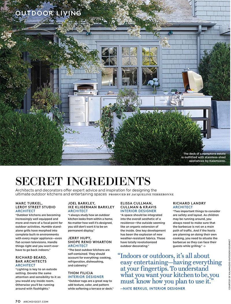 Kalamazoo outdoor kitchen in Architectural Digest