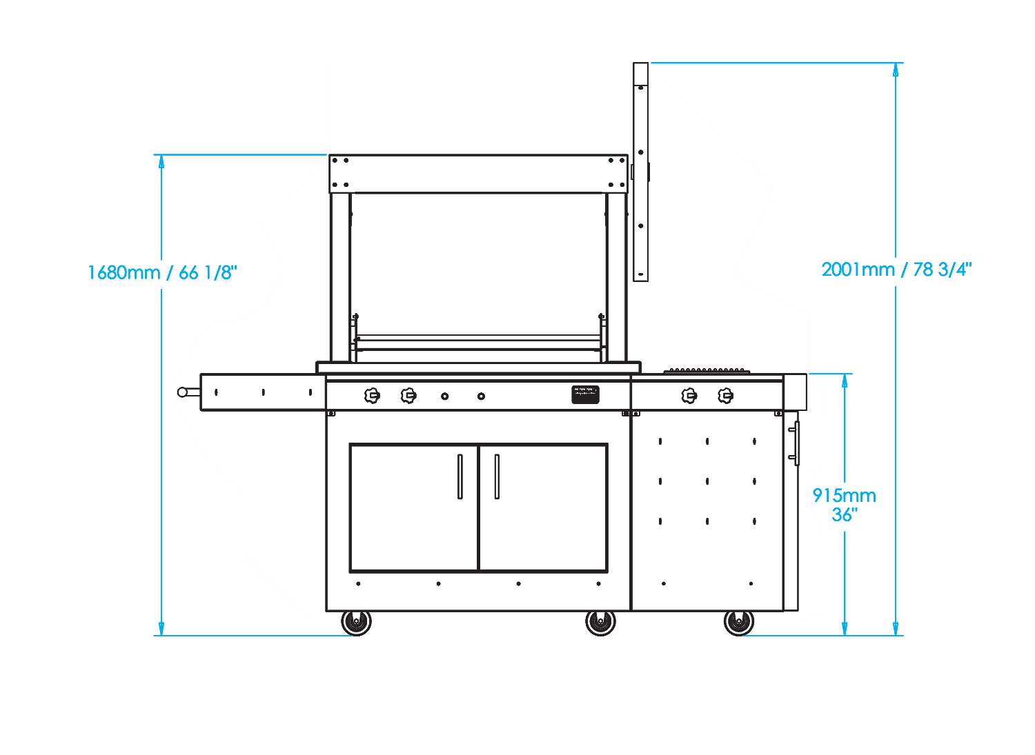 K750 Freestanding Gaucho Grill with Side Burner Dimensions Image