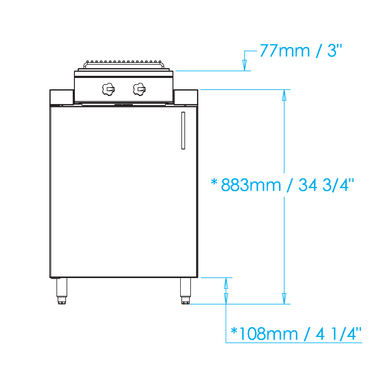 Signature 24-inch Cooktop Cabinet Dimensions Image