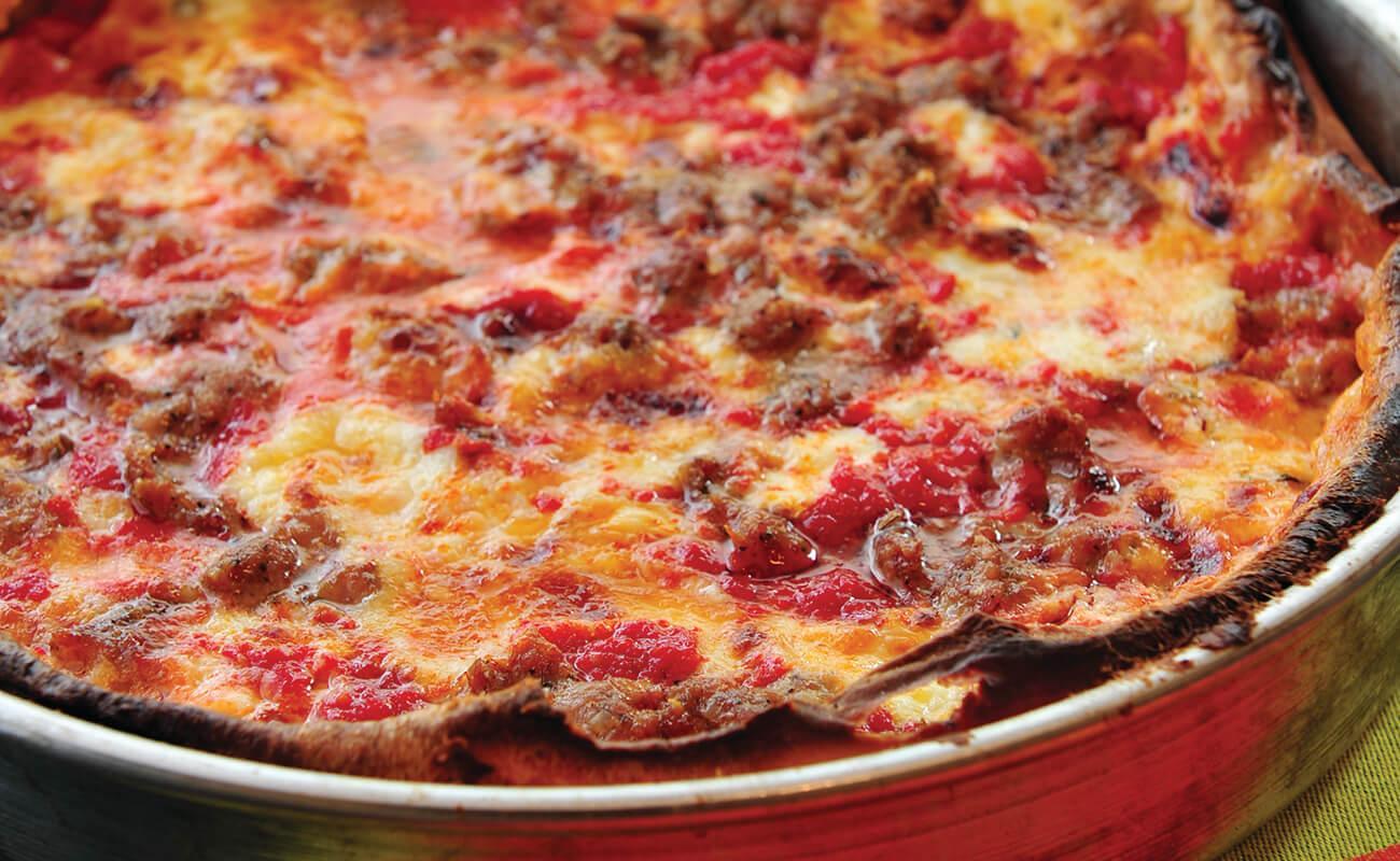 Image of Deep-Dish Three-Cheese Sausage Pizza