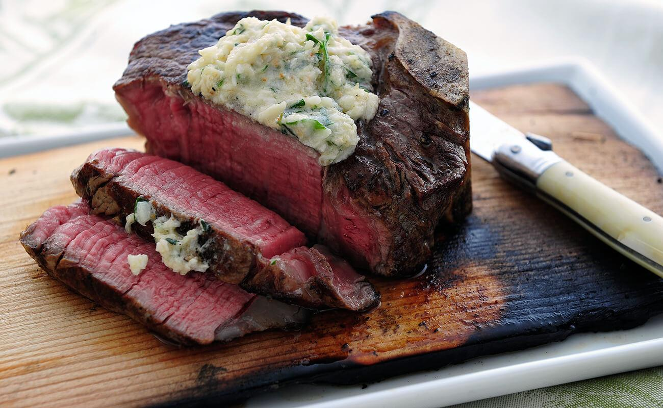Image of Cedar-Planked Bone-In Filets with Horseradish Crab Butter