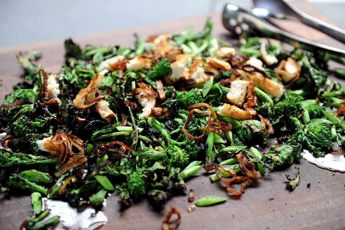 Image of Grilled Rapini with Truffle Vinaigrette and Fried Shallots