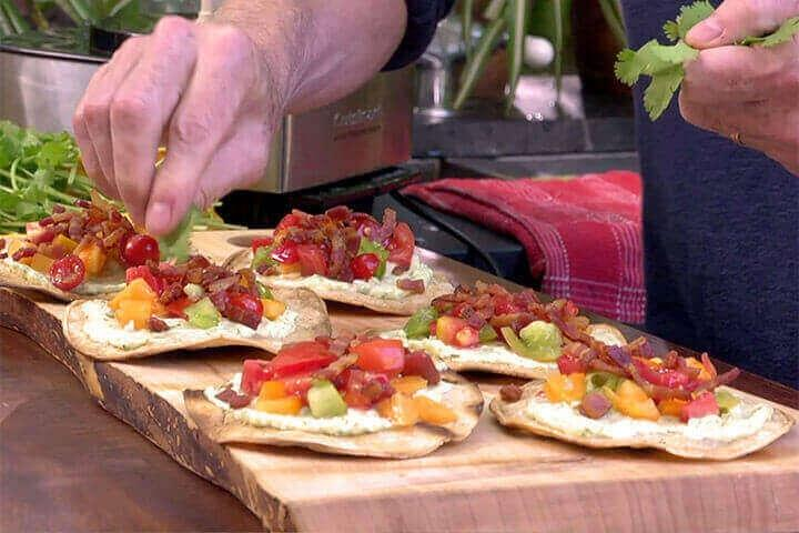 Image of Grilled Tostadas with Bacon, Avocado Mayo and Heirloom Tomatoes