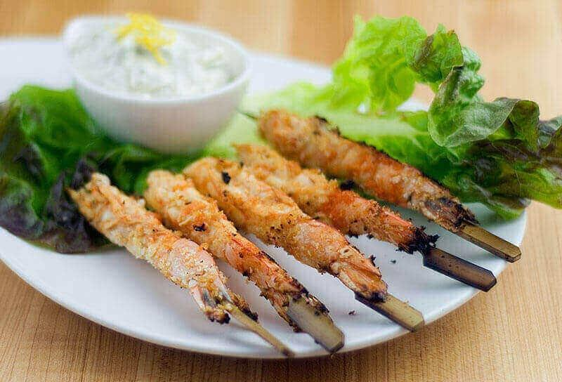 Image of Grilled Buffalo Shrimp with Blue Cheese Dip